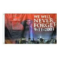 911 WE WILL NEVER FORGET 9-11-2001 FLAG 3X5 FT. $44